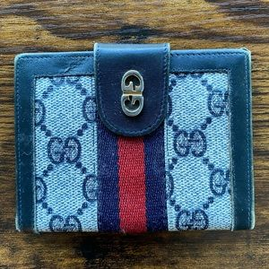 Gucci card wallet signature red blue leather